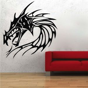 Fire Dragon Head Wall Decal Fire Dragon Dragon Head And Wall Decals - Custom vinyl wall decals dragon