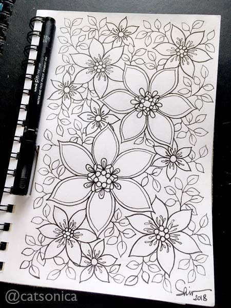 Coloring Coloringbook Doodle Floral Flower Clematis Pattern Patterndesign
