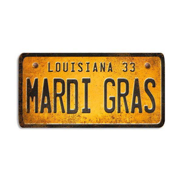 Louisiana Mardi Gras License Plate Wood Art ($79) ❤ liked on ...