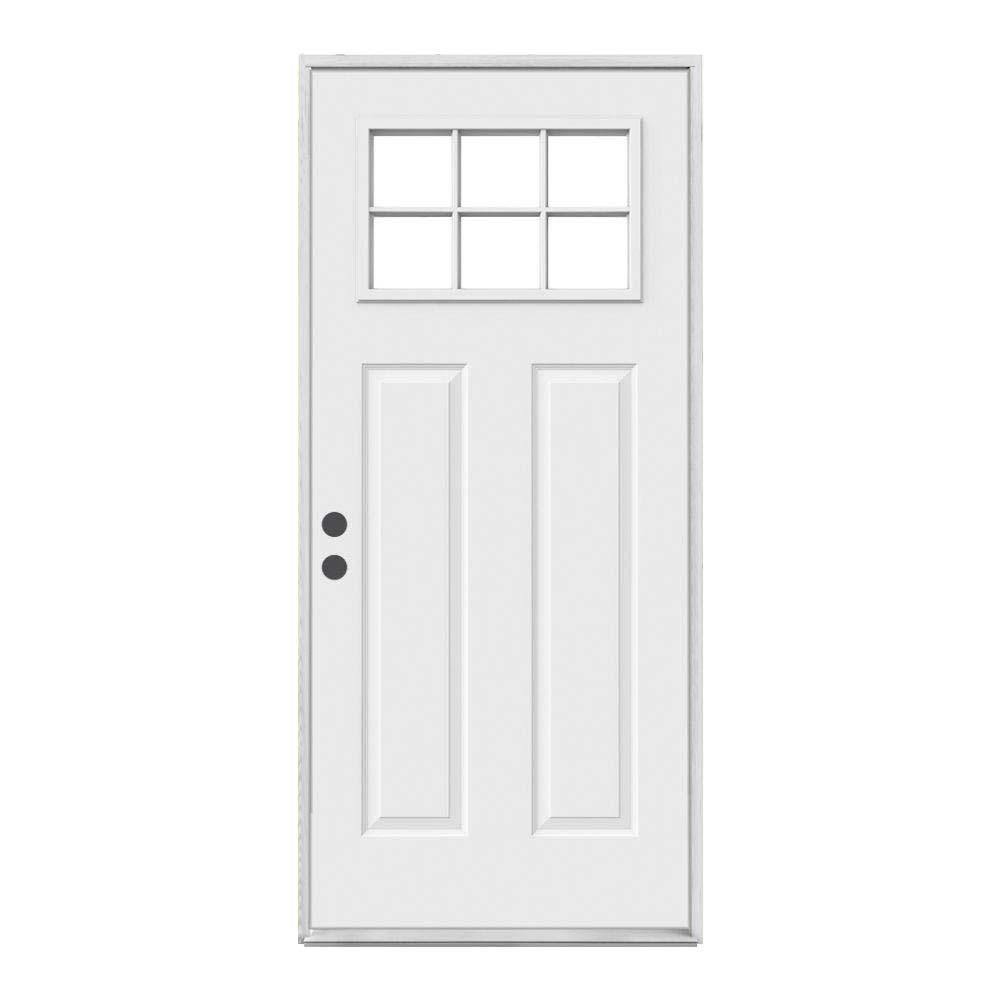 Jeld Wen 30 In X 80 In 6 Lite Craftsman Primed Steel Prehung Right Hand Inswing Prehung Front Door O03486 The Home Depot Steel Entry Doors Entry Doors Front Door