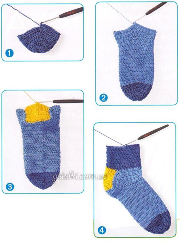 вяжем носки крючком схемы и описание