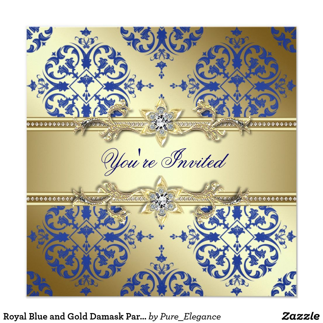 Royal Blue and Gold Damask Party Invitations | Damask party, Party ...