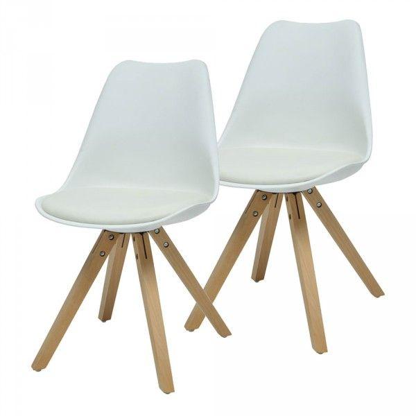 Chaise esprit scandinave blanche et bois X 2