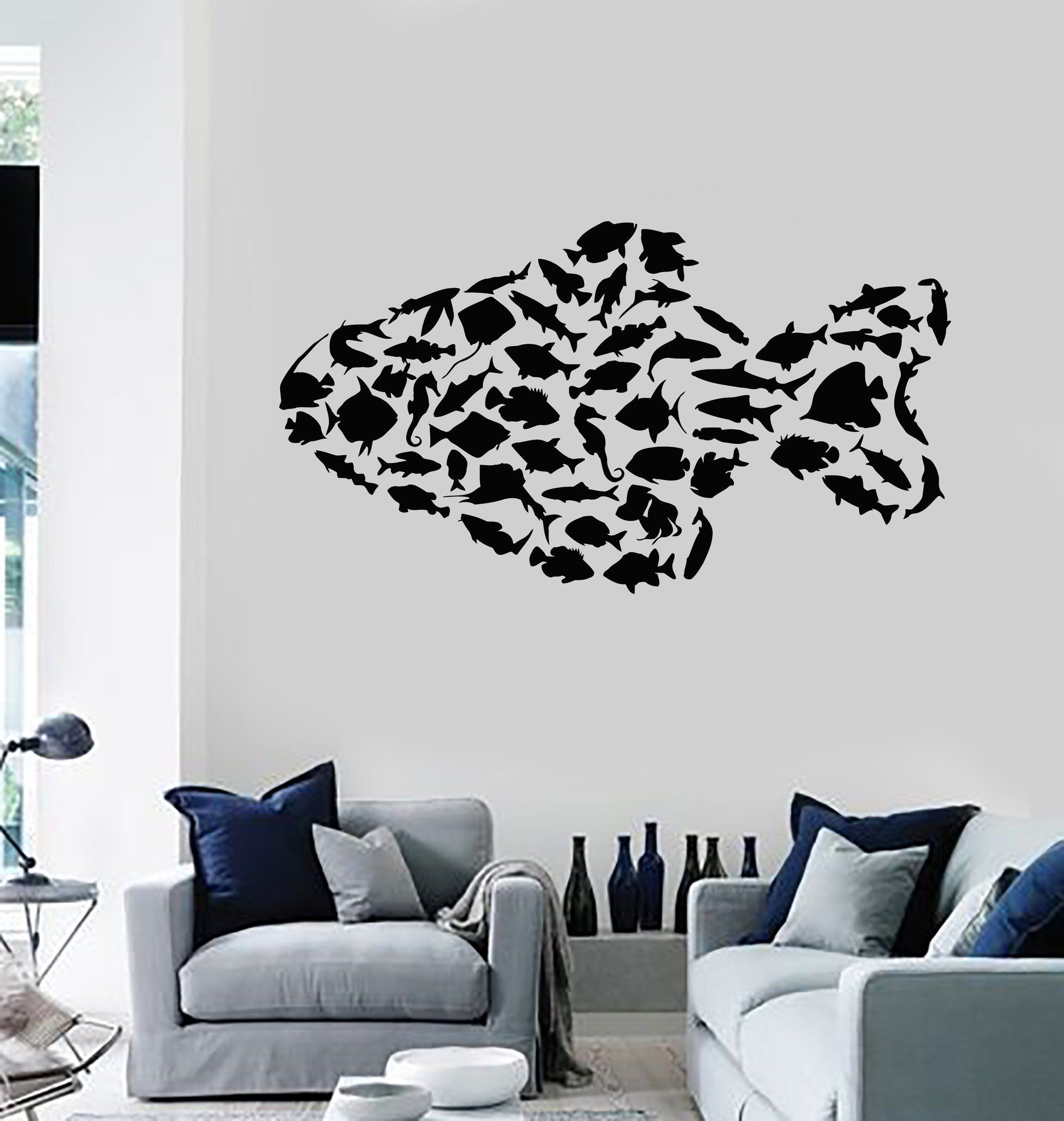Vinyl Wall Decal Marine Animals Fish Ocean Sea Bathroom Stickers ...