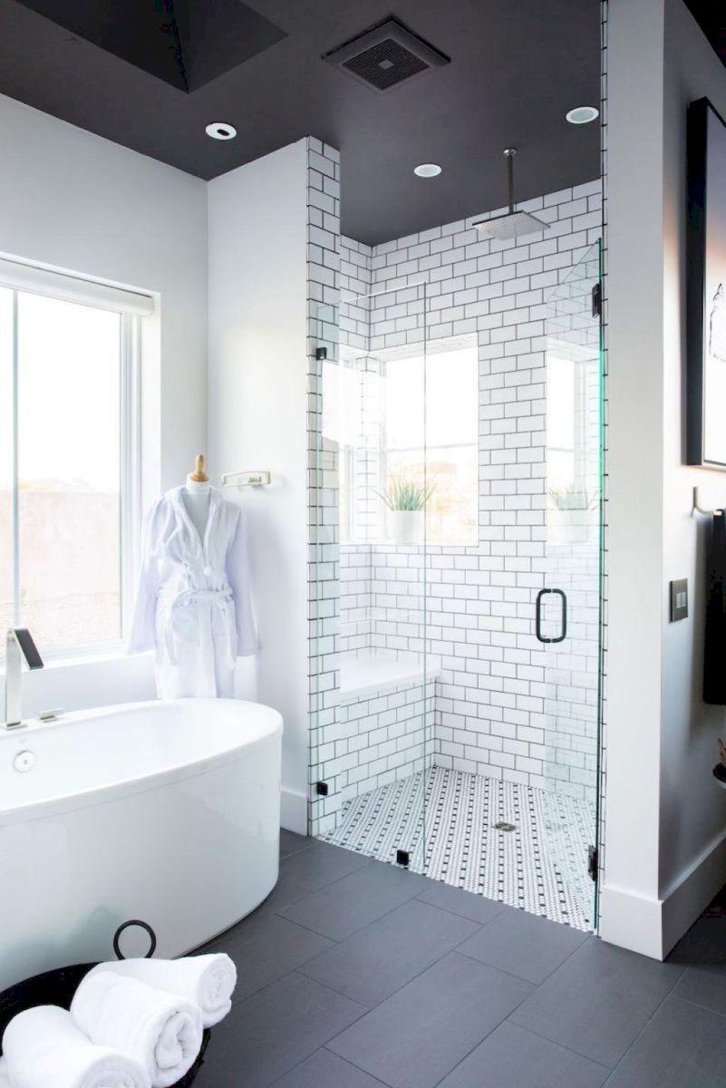 Beautiful Master Bathroom Remodel - dark tile and ceiling, contrast ...