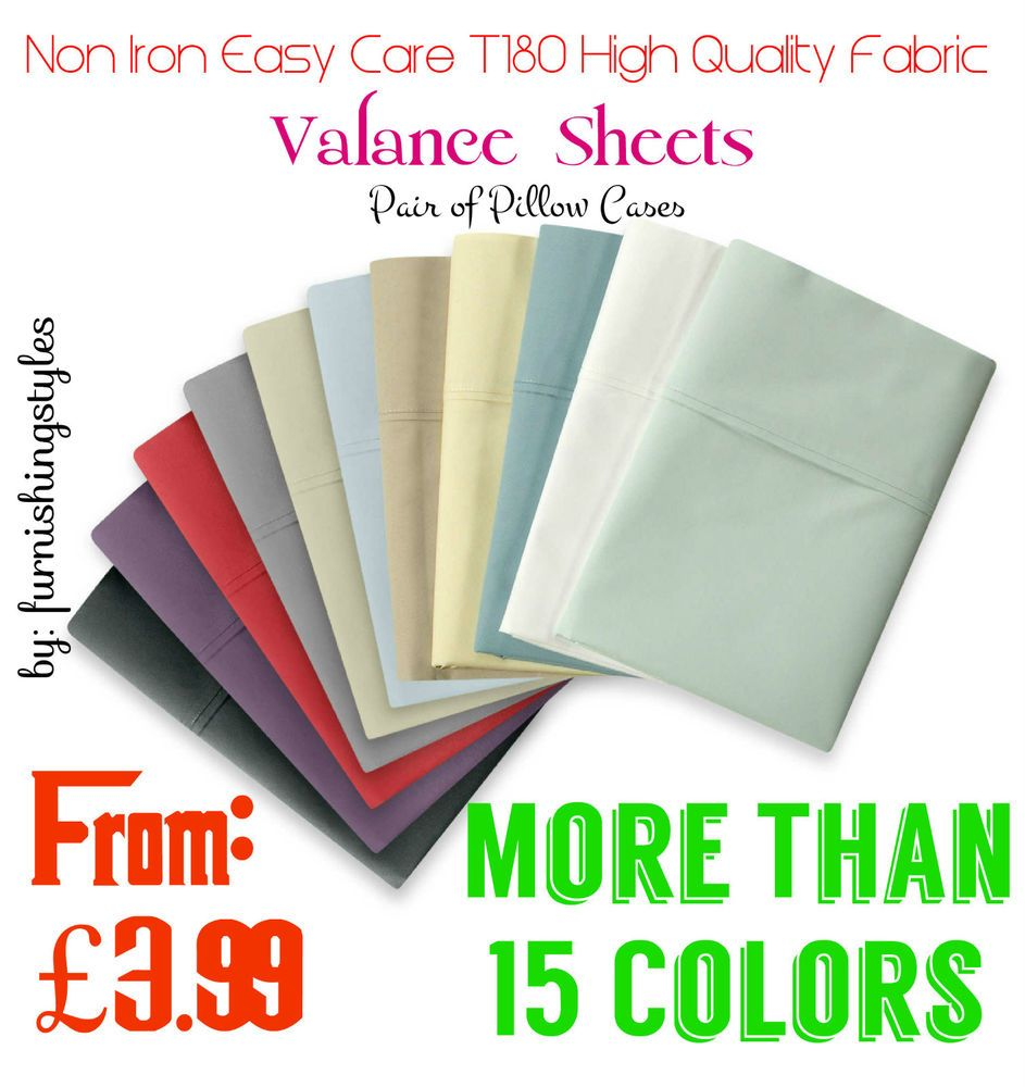 Details about non iron easy care valance sheet percale