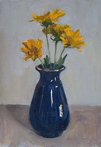 Daily Painting Titled Flowers In A Blue Vase Click For Enlargement