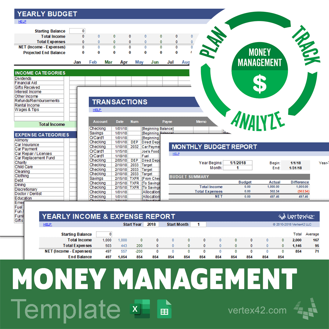 Download The Free Money Management Template From Vertex42