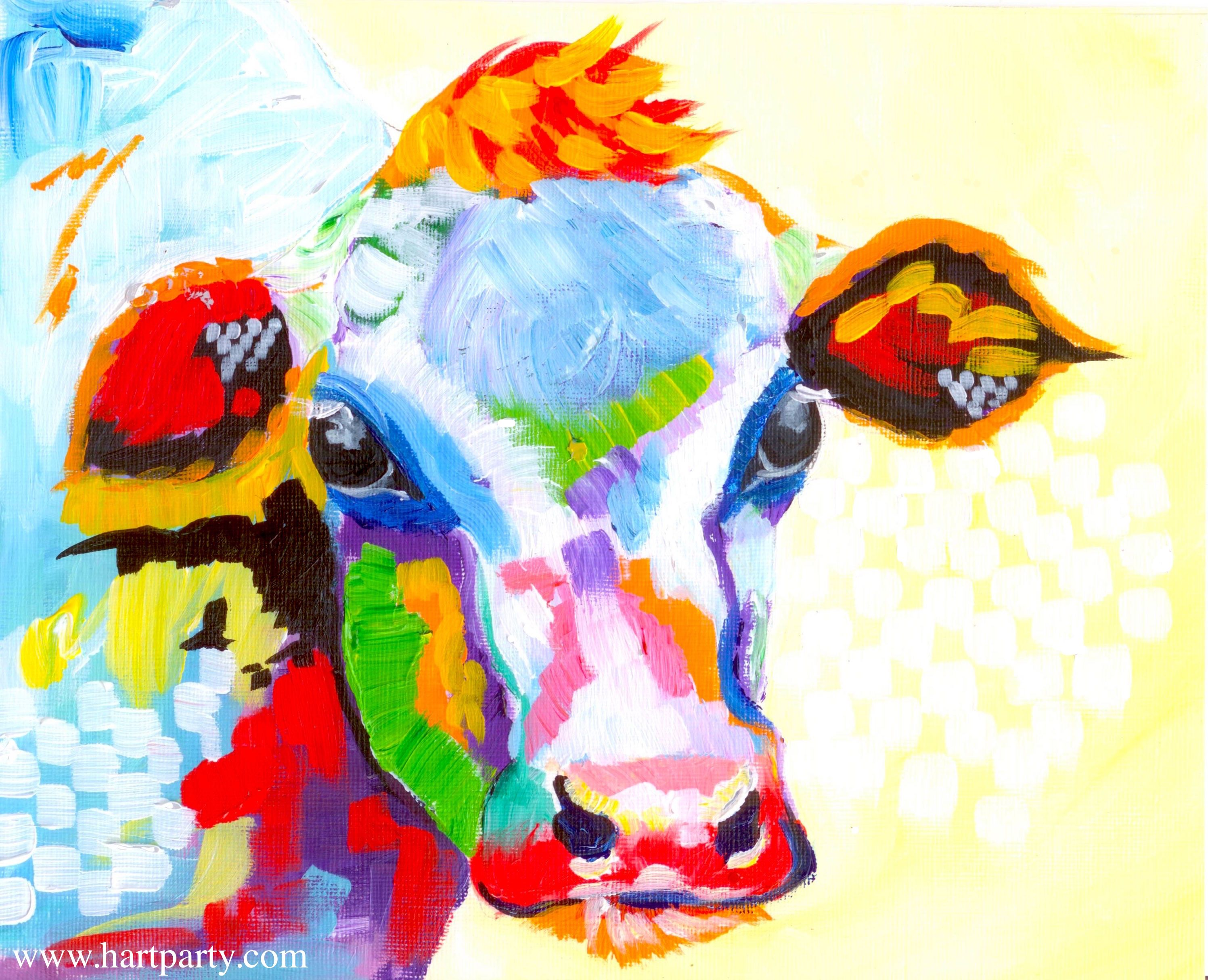 Colorful Cow Painting Acrylic Tutorial Beginner Abstract Lesson By The Art Sherpa For Youtube Cow Painting Abstract Art Lesson The Art Sherpa