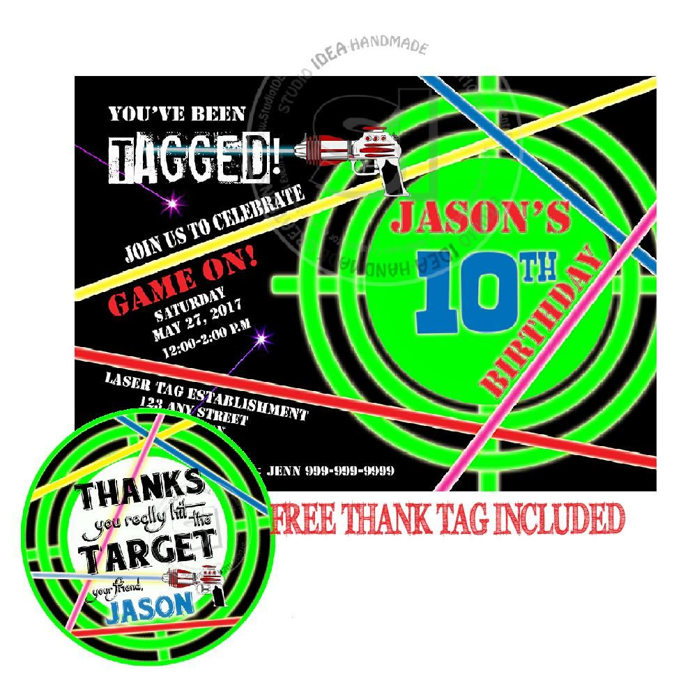 Laser Target Party Printable Invitation with FREE Thank you Tag-DIY ...