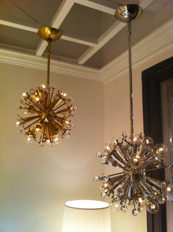 Mini Sputnik Chandelier In Nickel And Brass By Jonathan Adler For Robert Abbey Hpmkt