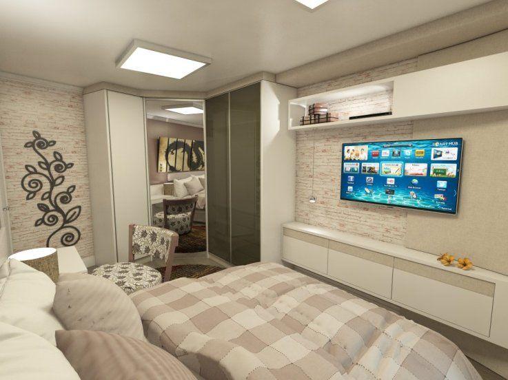 Decoração de Quartos de Casal com TV! Decor Bedroom  ~ Rack Quarto Branco