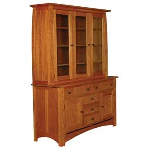 Simply Amish Aspen 3 Door China Hutch   Becker Furniture World   China  Cabinet Twin