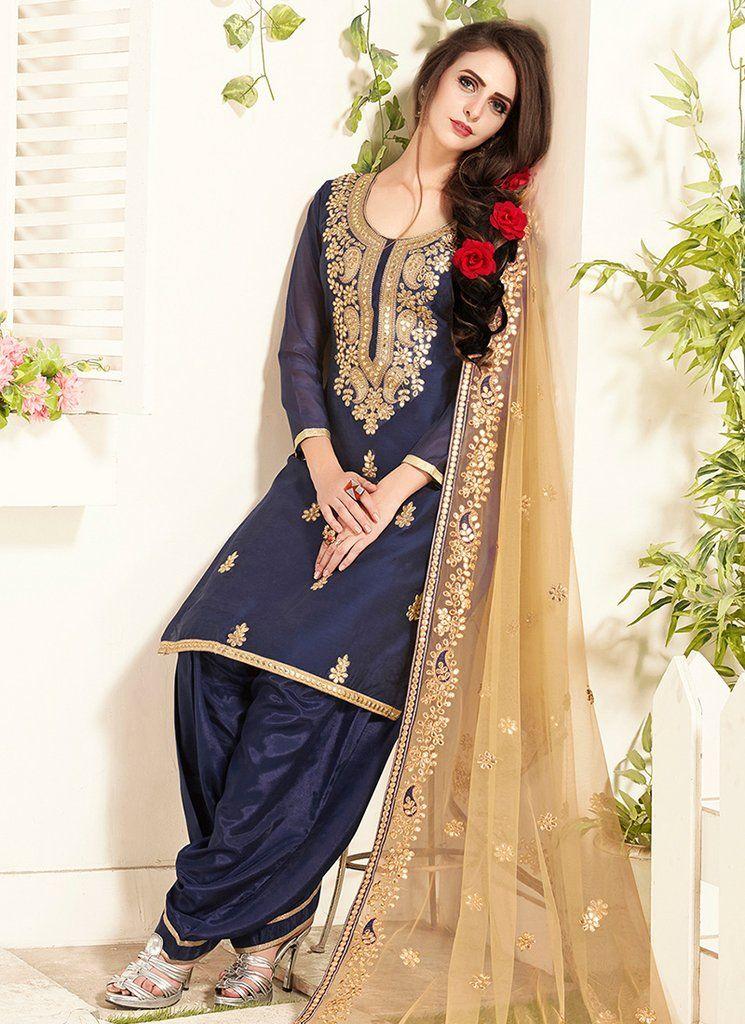 895b28fc8f Dark Blue and Beige Embroidered Chanderi Punjabi Suit | Punjabi suit ...