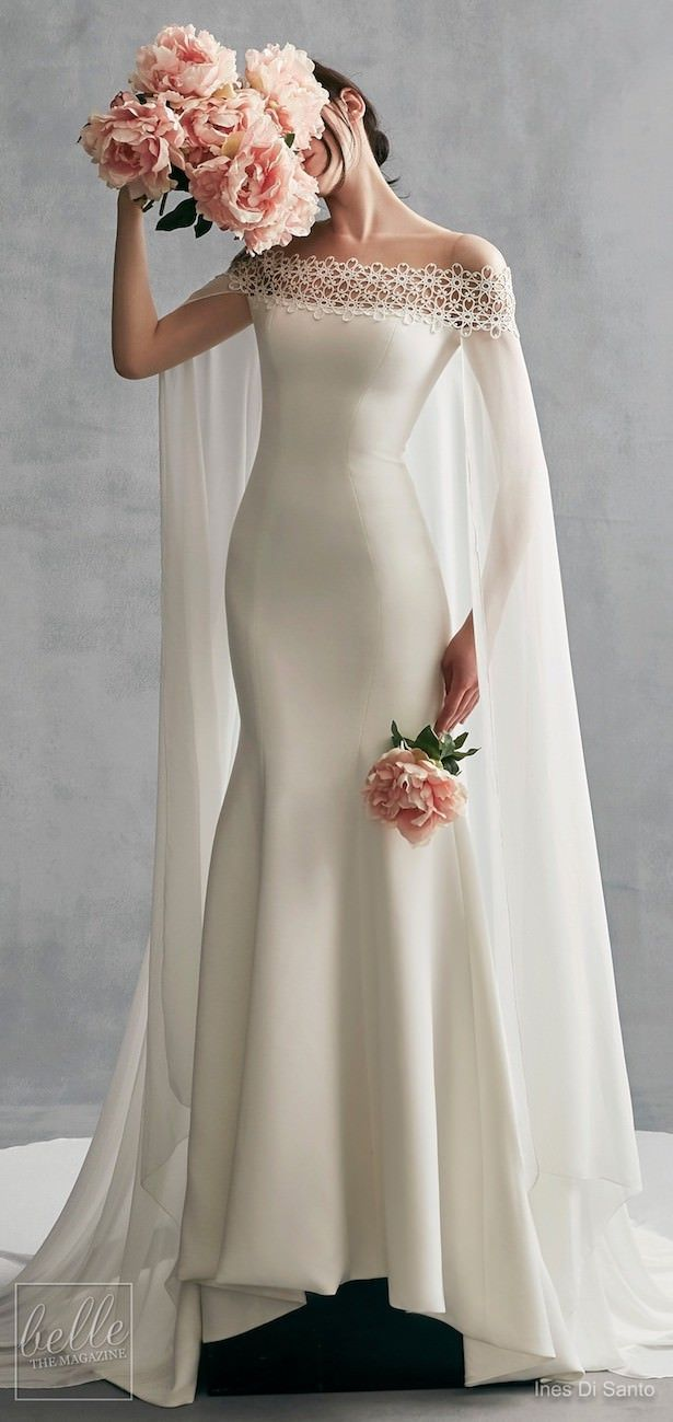 Simple Wedding Dresses Inspired By Meghan Markle Off The Shoulder Ines Di Santo Wedding Dr Elegant Bridal Gown Cape Wedding Dress Meghan Markle Wedding Dress [ 1299 x 615 Pixel ]