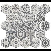 Carrelage Hexagonal 17 5x20 Tomette Harmony B W 1m2 Equipe Med