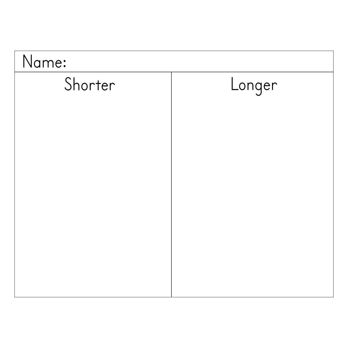 Shorter And Longer Worksheet