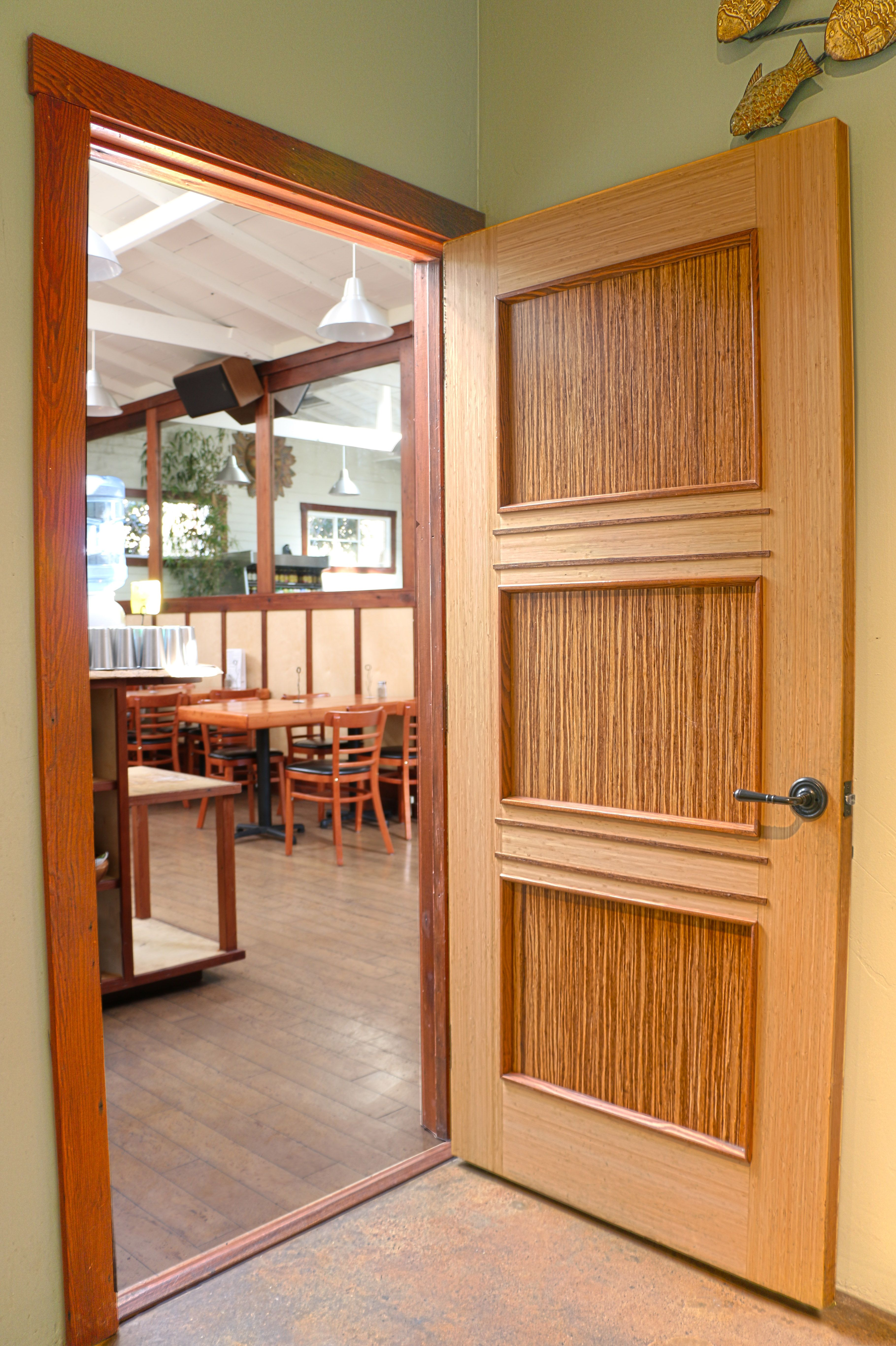 Green Leaf Bamboo Door Install In A Local Organic Cafe With