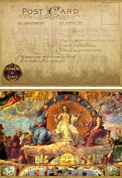 Post Card Front & Back Inspired by   World of Tarot® Collector Tarot   Series: Platonic Academy Tar