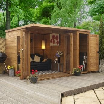 10 x 8 approx sheriff hallsworth summerhouse with side shed - Garden Sheds With Windows