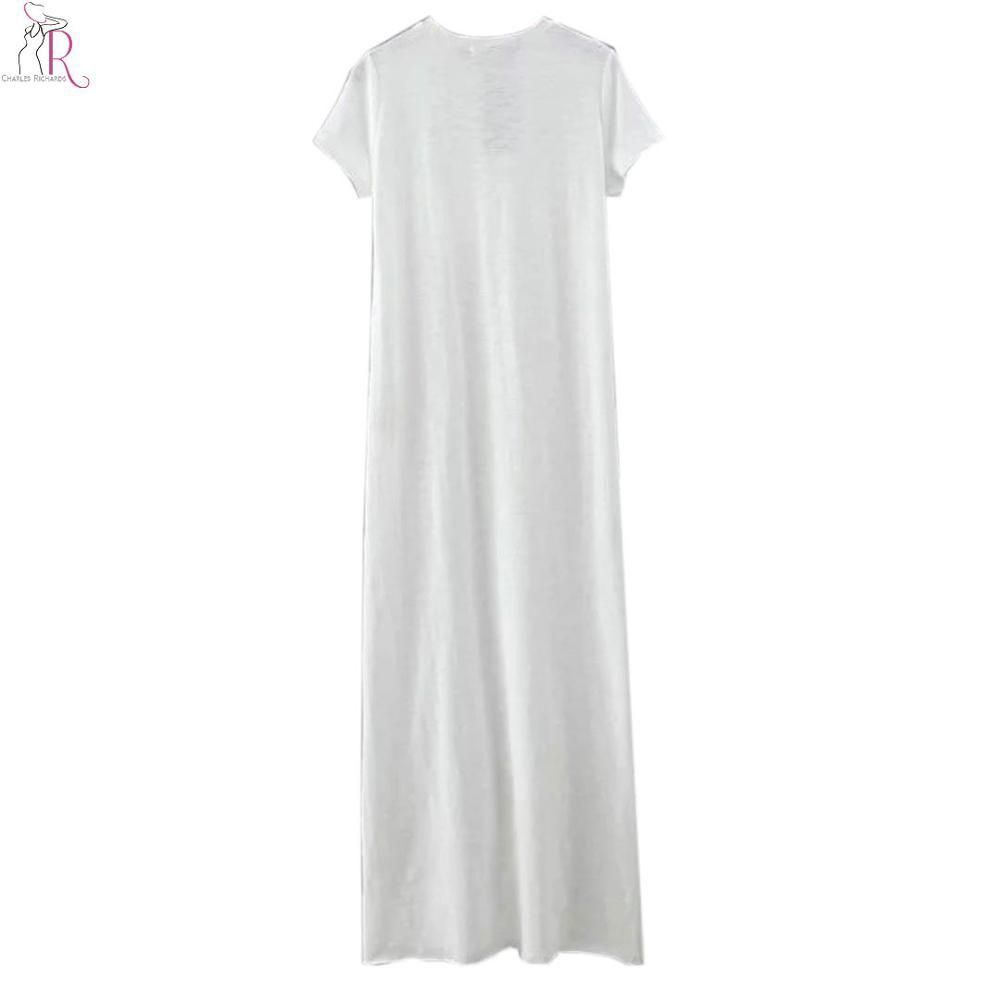 White short sleeve side split maxi tshirt dress chest pocket loose