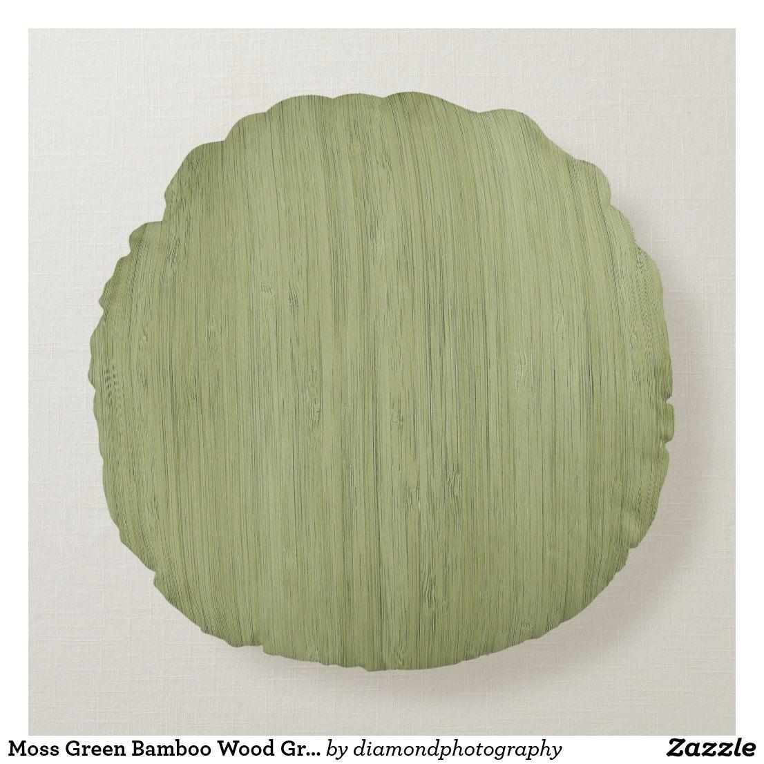 Moss Green Bamboo Wood Grain Look Round Pillow