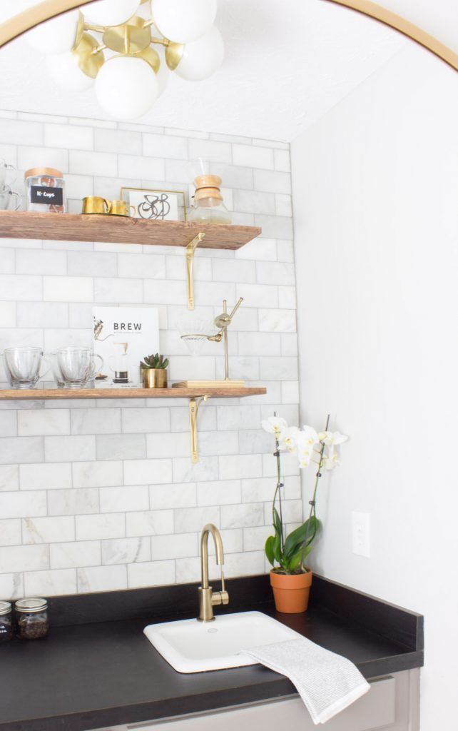 This Coffee Bar Makeover Is Stunning It Used To Be An 80s Wet Butler S Pantry But Was Made Over For The One Room Challenge I Love Br Fixtures