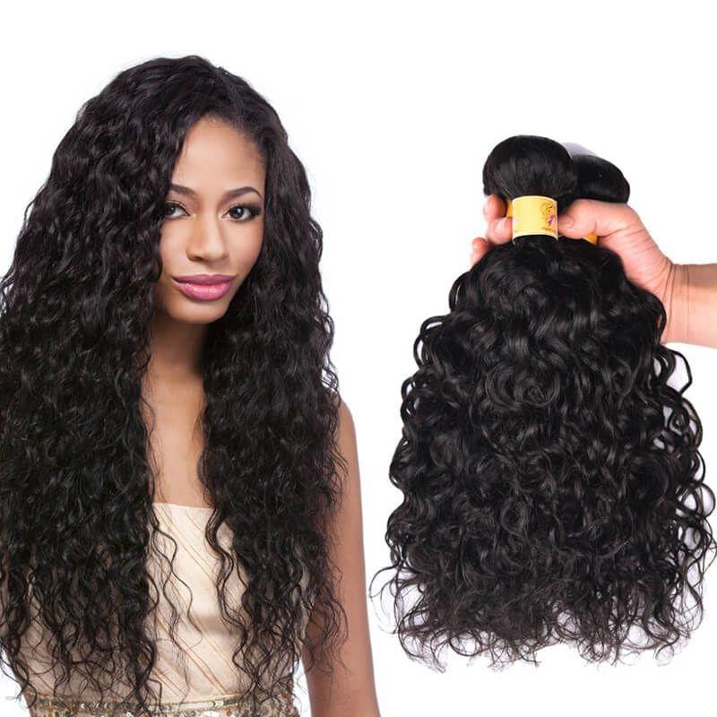 Brazilian Water Wave Virgin Hair Weave Human Hair 3 Bundles 1b