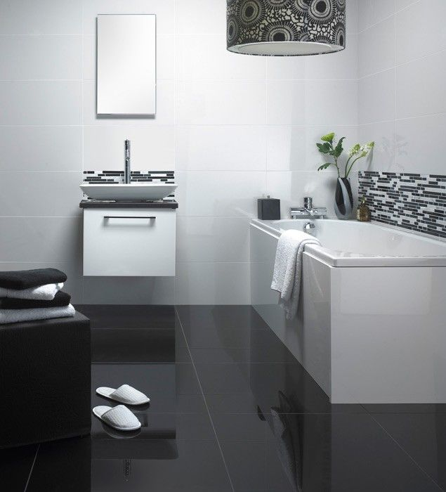 White Bathroom Black And White Floor   Google Search