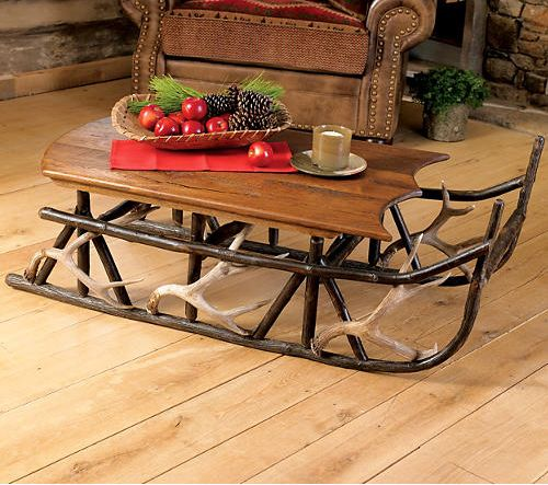 Rustic Tables ~ Hickory And Antler Sleigh Table