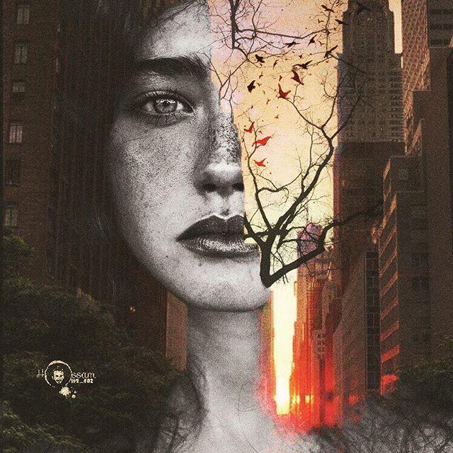 على نافذتها توقف عصفور صغير لمحها نائمة على سريرها فنسي كيف يطير C Expo Doubleexposure Enlightapp Fire Heart Art Instagram