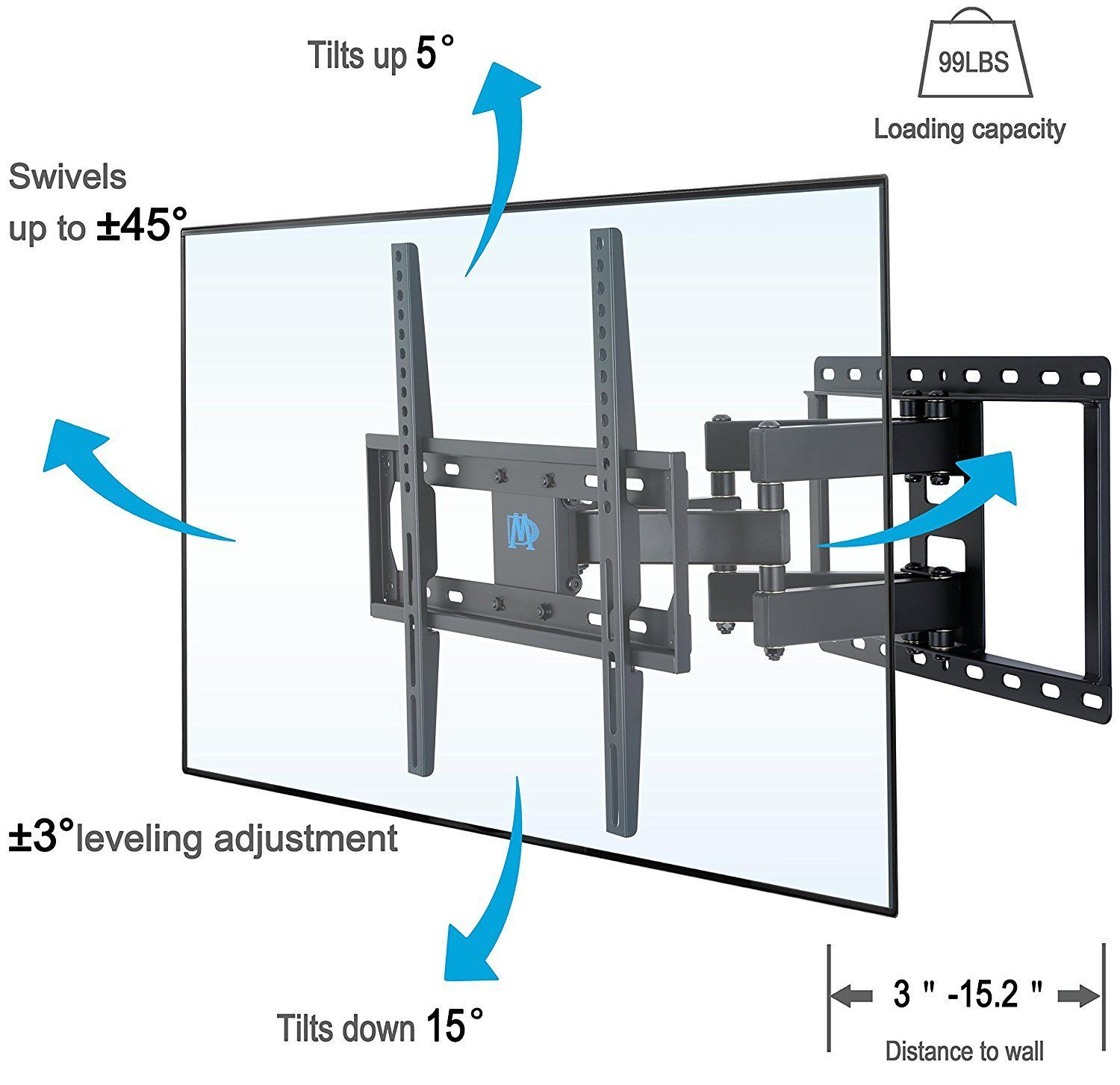Amazon.com: Mounting Dream MD2380 TV Wall Mount Bracket For Most 26 55 Inch  LED, LCD, OLED And Plasma Flat Screen TV, With Full Motion Swivel  Articulating ...