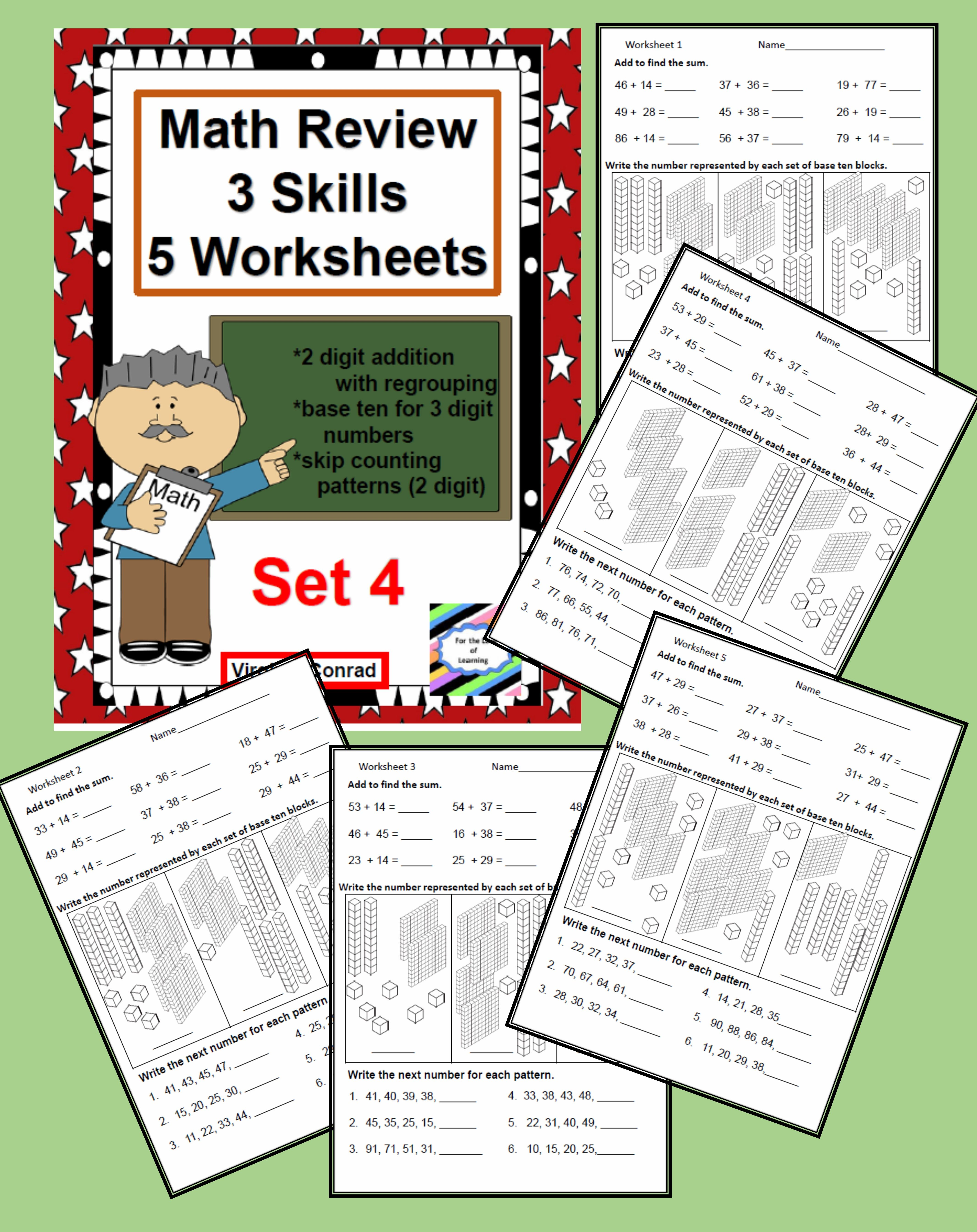 Math Review Worksheets 3 Skills For 5 Days Set 4 With
