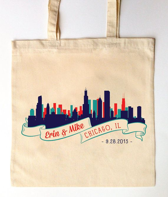 Wedding Gifts Chicago: Chicago Skyline Custom Printed Wedding Guest Totes