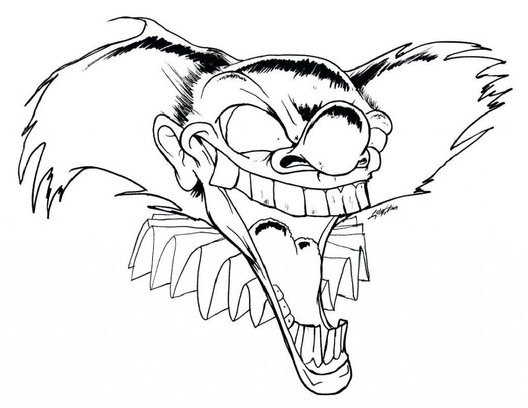 Scary Clown Coloring Pages Free Scary Drawings Scary Clowns