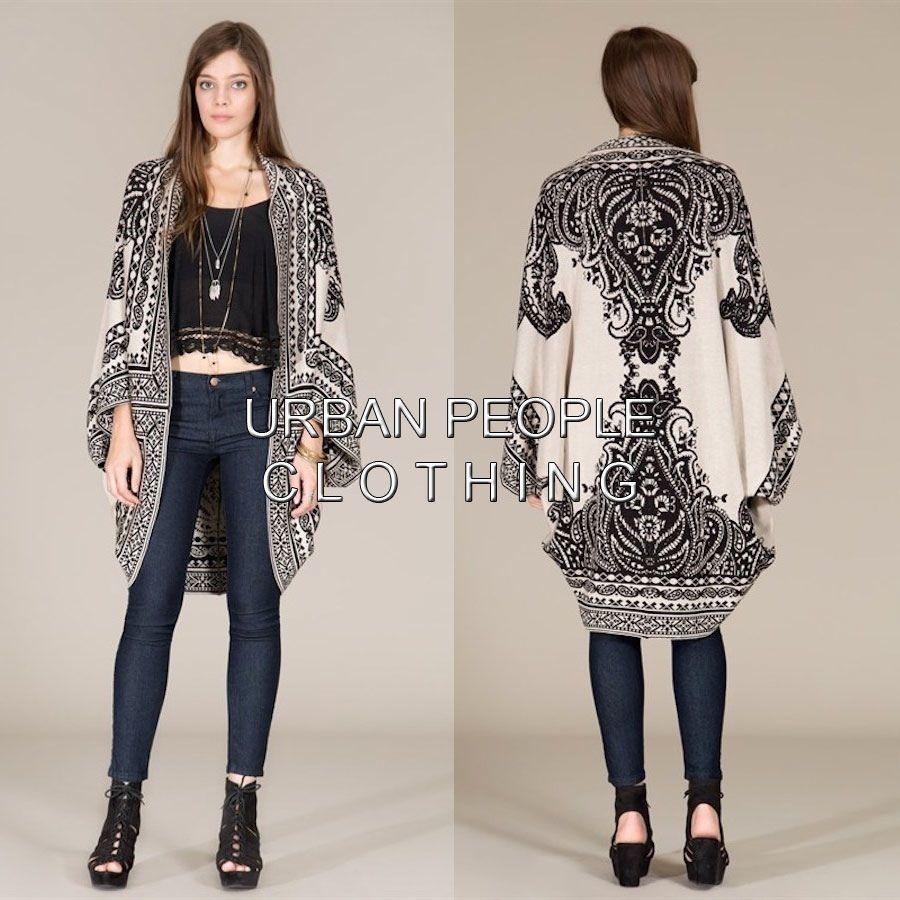 Travel To Rome Black Boho Oversized Slouchy Wrap Sweater Cardigan ...