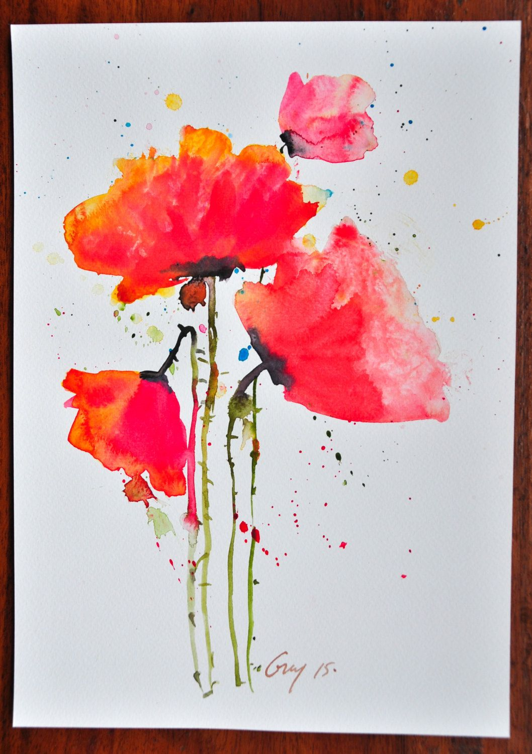 Red poppy flowers painting original watercolor painting on white red poppy flowers painting original watercolor painting on white paper with signed small painting size 21 x 297 cm for decorate by guykantawan on etsy mightylinksfo