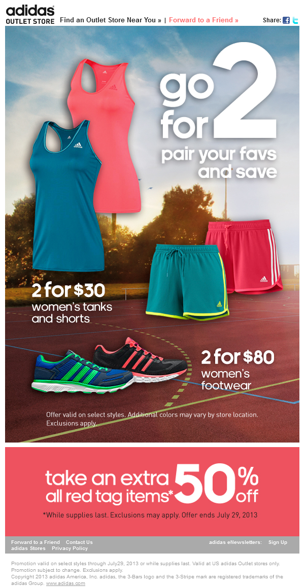 Pinned July 20th Extra 50 Off Red Tag Items At Adidas Outlet Locations Coupon Via The Coupons App Coupon Apps Adidas Store Clothes For Women
