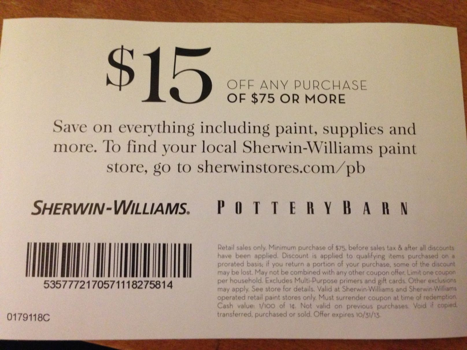 photo relating to Pottery Barn Coupon Printable titled Pottery Barn 15 Off Coupon Collections Plans Sherwin