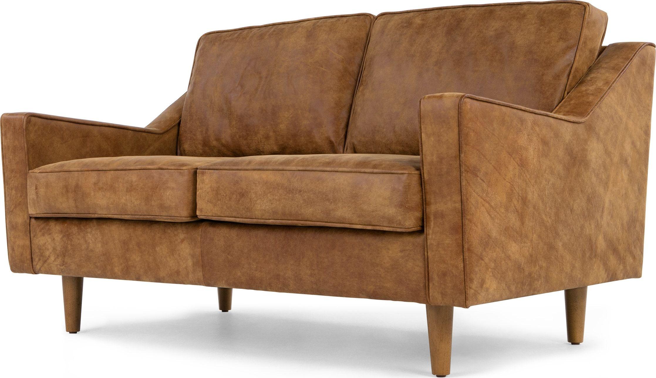 Dallas 2 Seater Sofa Outback Tan Premium Leather 2 Seater Sofa Two Seater Leather Sofa Vintage Sofa