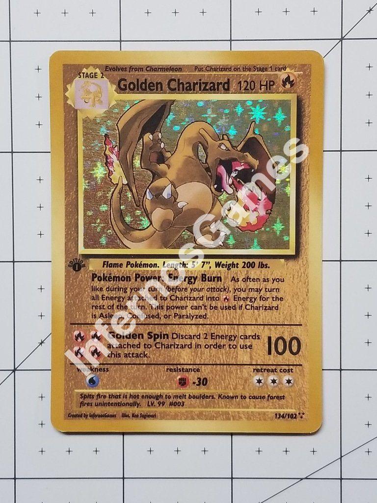 Golden charizard custom card holo vintage style