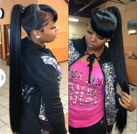 Edges And Pony Tail Laid To Perfection Weave Ponytail Hairstyles Ponytail Styles Black Ponytail Hairstyles