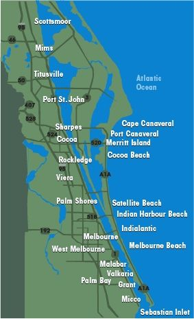 Map Of Beautiful Brevard County Brevard County Cocoa Beach