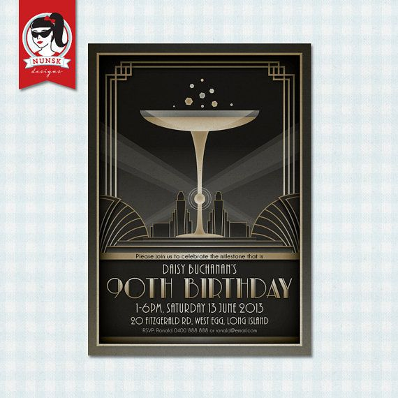 90th Birthday Party Invitations 20s Art Deco Gatsby – Art Deco Party Invitations