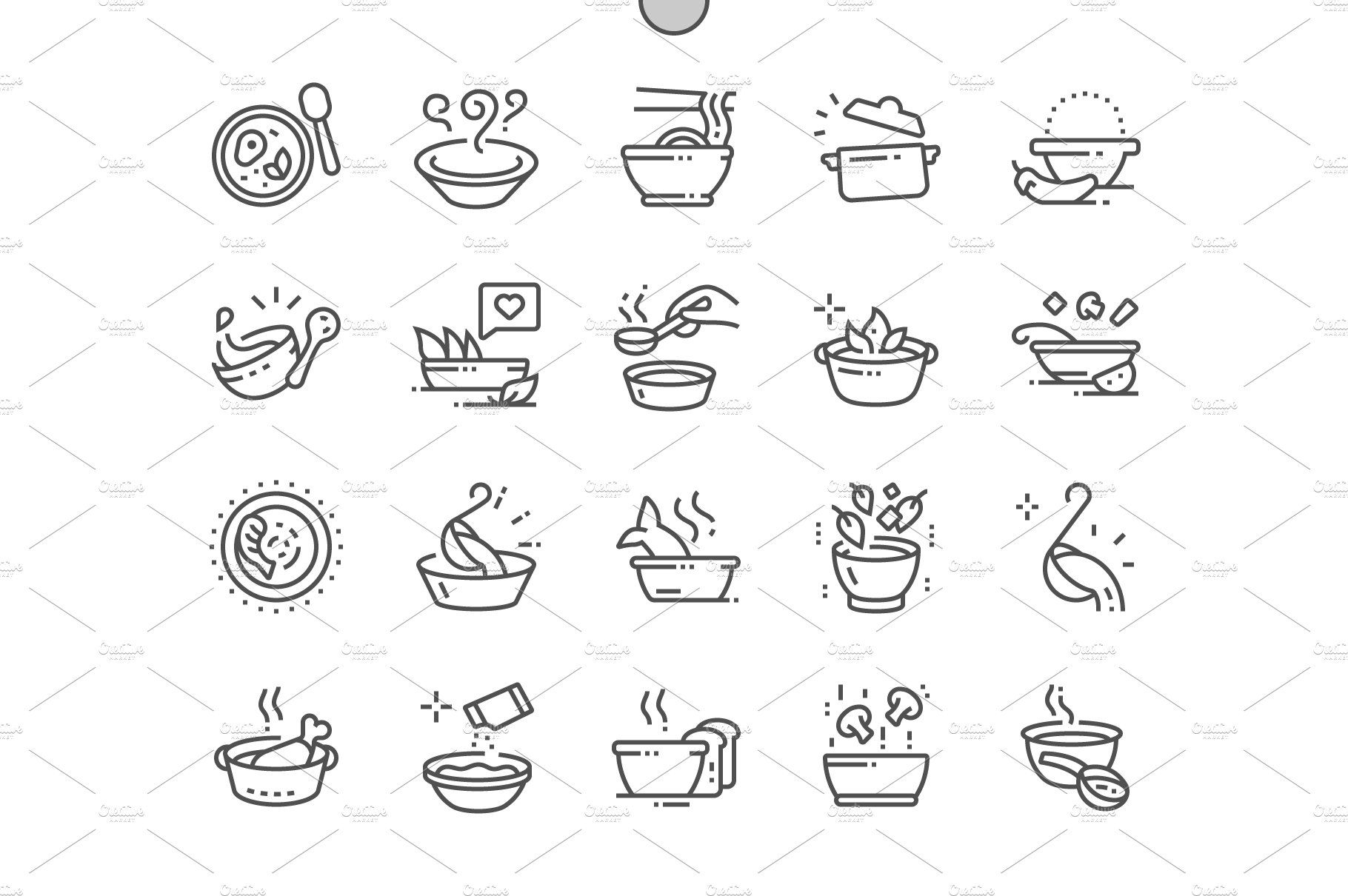 Soup Line Icons Line icon, Icon, Create icon