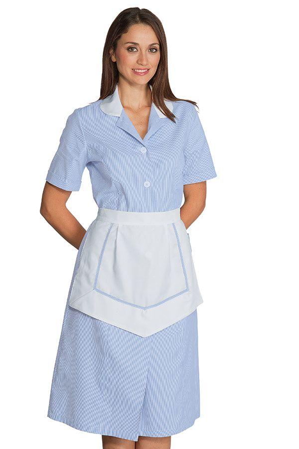 Ensemble femme de chambre manches courtes 100 coton ray bleu blanc hotellerie blouse femme - Emploi femme de chambre a paris ...