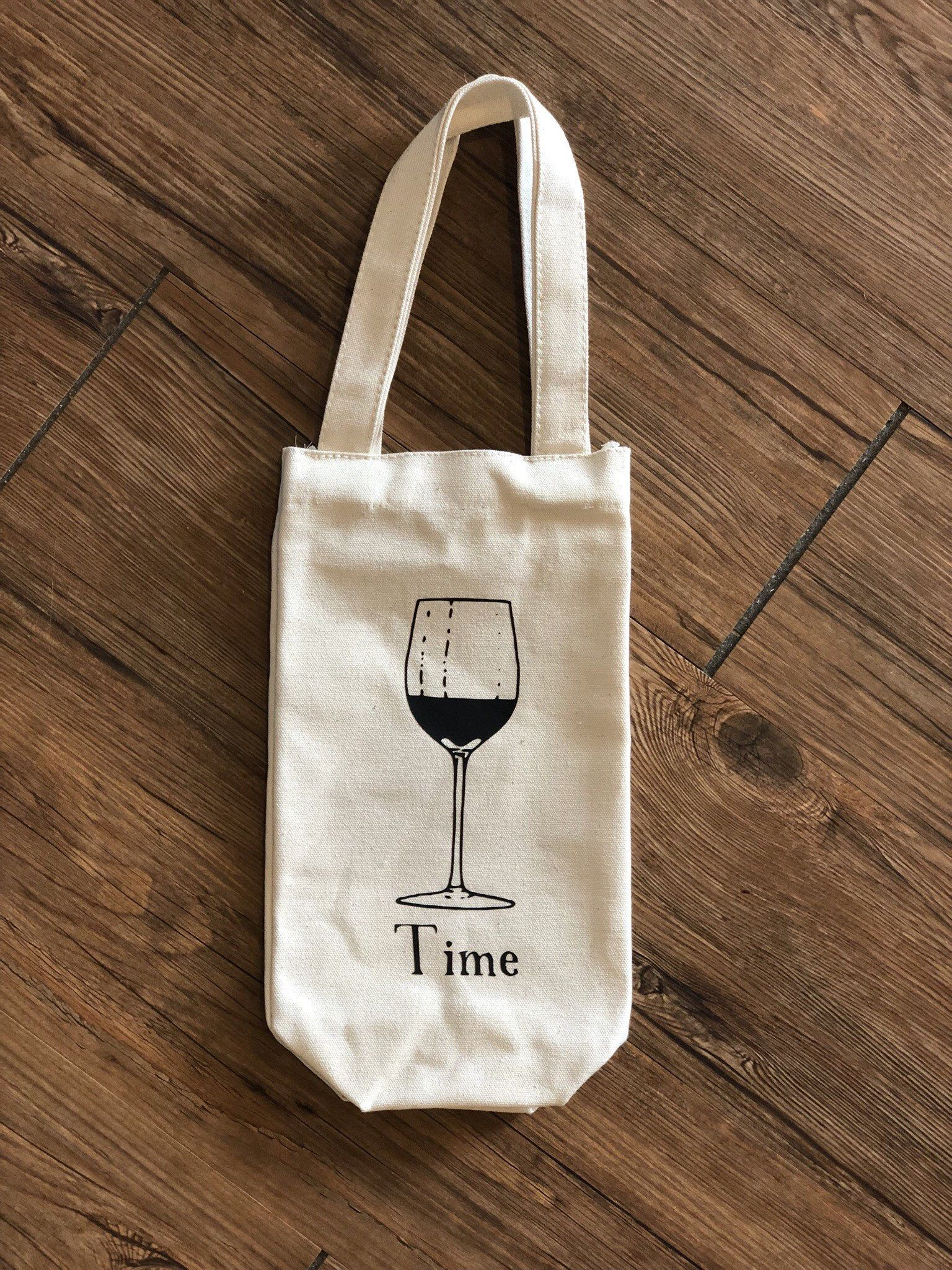 Wine Time Canvas Wine Bag By Factorv On Etsy Canvas Wine Bag Canvas Bag Design Canvas Wine Tote