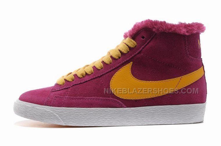 Women Nike Blazer High Wool Purple Yellow Shoes