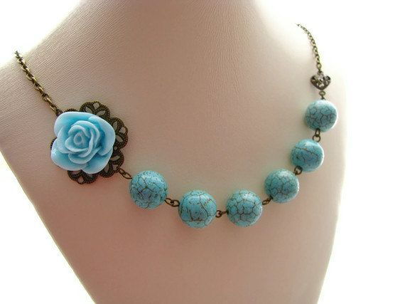 Turquoise Rose Brass Necklace With Turquoise by heversonart, #jewelry #turquoise #pastel #flower #necklace