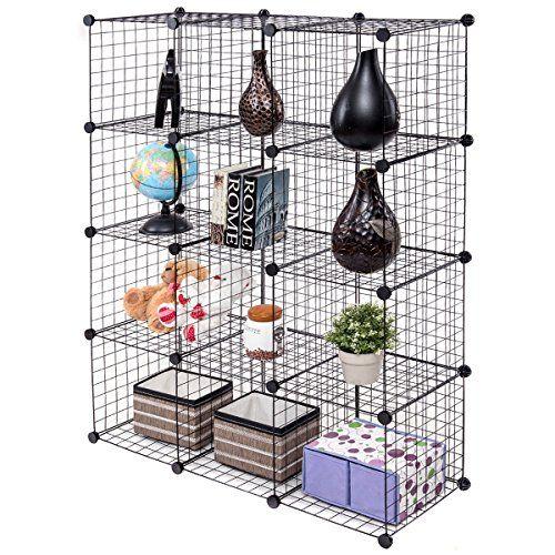 New Black Wire Cube Shelves Diy 12 Cube Grid Organizer Wardrobe Organizer Bookcase Shoe With Images Cube Storage Closet Organization Diy Wire Storage